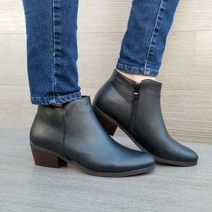 Shoes - Black Vegan Booties Boots With Zipper-B
